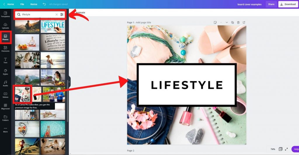 10 create a board cover pinterest on canva