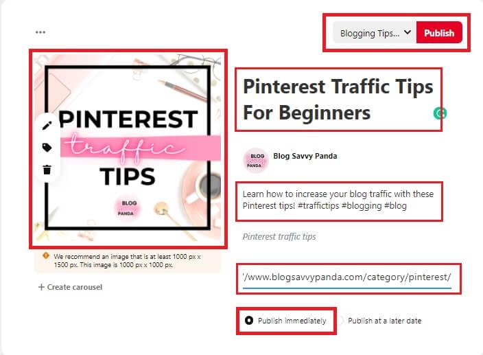 choose pinterest pin and input description 3