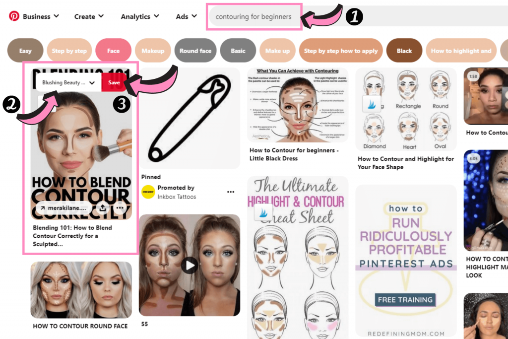 how to pin on pinterest search example