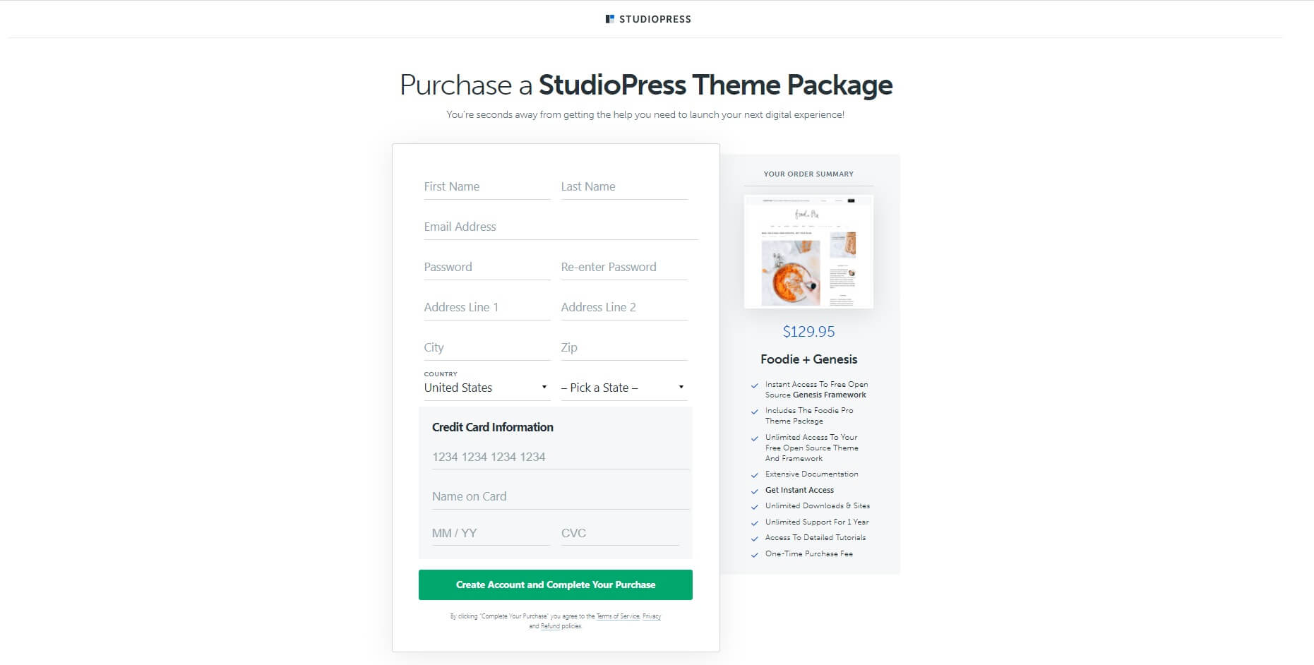 studiopress foodie pro theme purchase